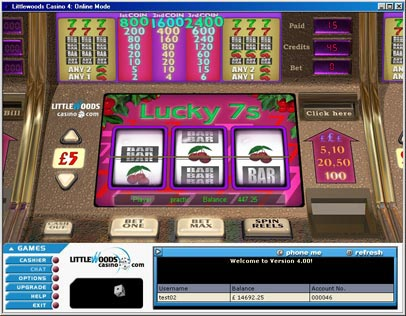 Lucky Sevens - one of the most popular Slots games in the world - found at Littlewoods Casino